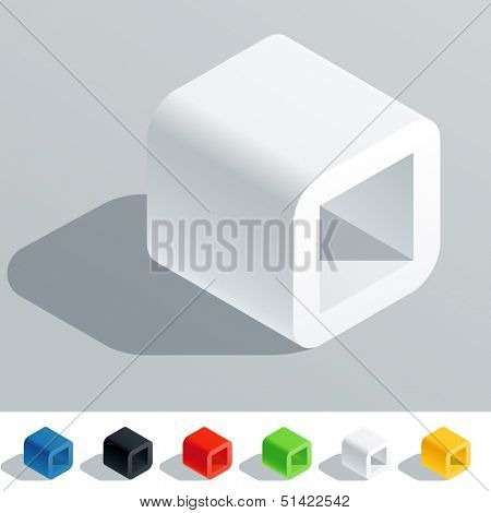Vector illustration of solid colored letter in isometric view. Cube styled monospace characters. Symbol O