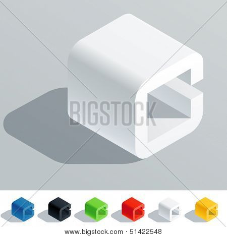 Vector illustration of solid colored letter in isometric view. Cube styled monospace characters. Symbol C