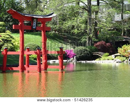 Japanese Area of The Brooklyn Botanical Gardens In spring