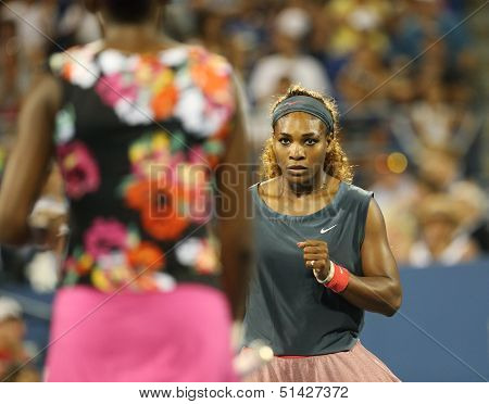 ixteen times Grand Slam champion Serena Williams during her first round doubles match at USOpen 2013