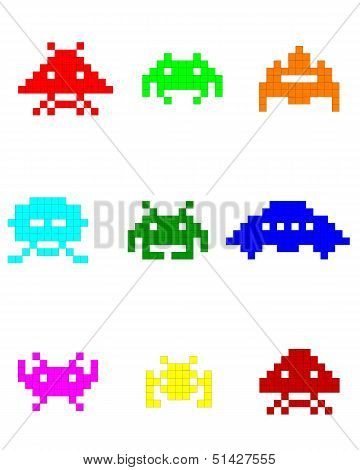 Colorful Silhouettes Of Space Invaders