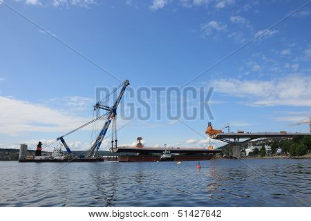 Bridge Lifted From A Barge