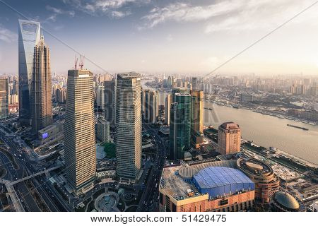 Modern Metropolis Of Shanghai At Dusk