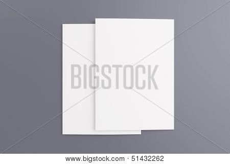 Blank Cards Isolated On Grey