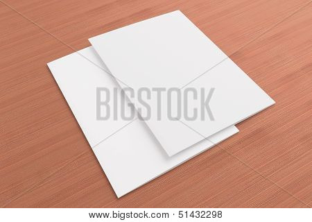 Blank Cards On Wooden Background