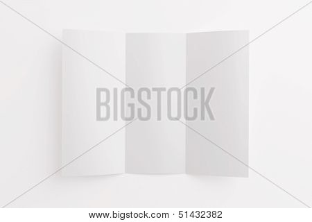 Blank Opened Tri Fold Brochure Isolated On White