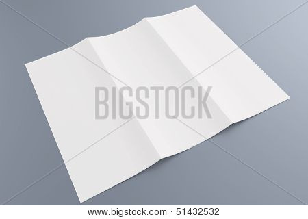 Blank Tri Fold Brochure Isolated On Grey