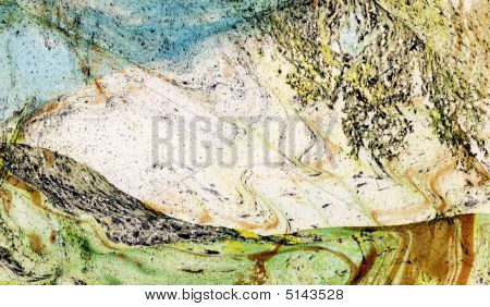 Abstract Landscape, Hand Painted Background On Watercolor Paper
