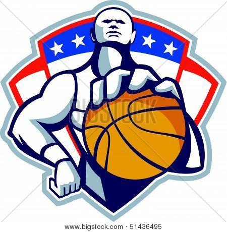 Basketball Player Holding Ball Crest Retro