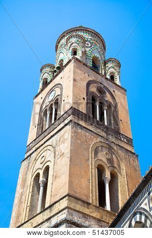 The Bell Tower Of Amalfi Cathedral, Italy. 9Th-century Roman Catholic Structure. It Is Dedicated To