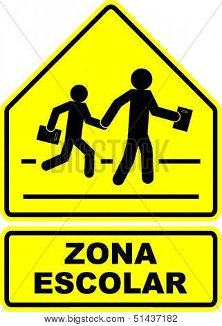 zona escolar (school zone) sign