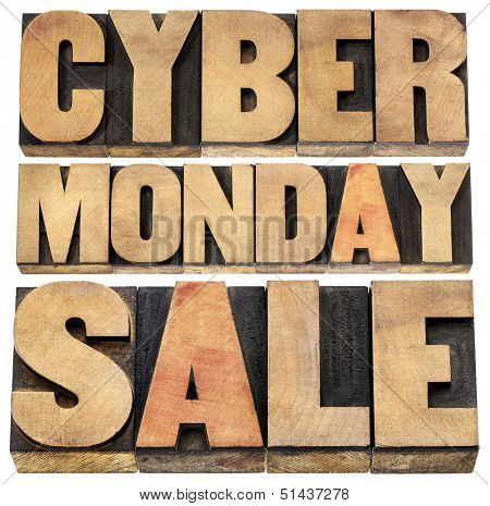 Cyber Monday sale - online shopping and marketing concept - isolated text in letterpress wood type blocks