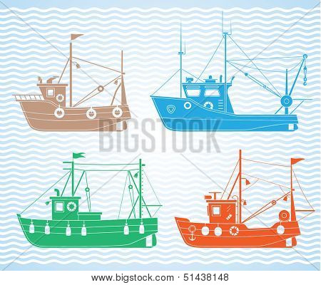Set of different types of fishing boats
