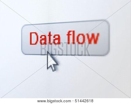 Data concept: Data Flow on digital button background