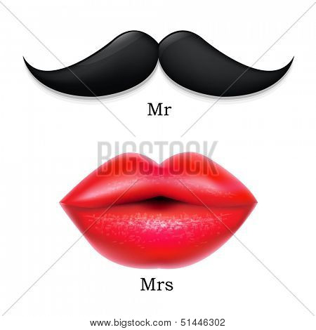 Moustaches With Lips, With Gradient Mesh, Vector Illustration
