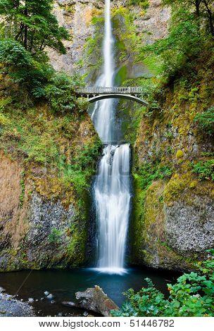 Multnomah Falls and bridge in the Columbia River Gorge, Oregon