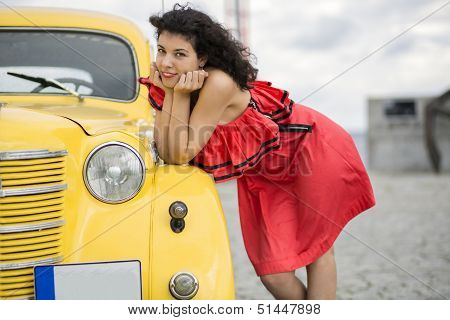 Woman In Nice Dress Rely On Car