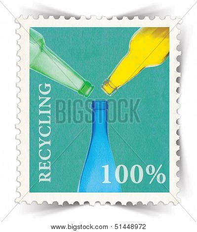 Label For Glass Bottle Recycling Posters Stylized As Post Stamp