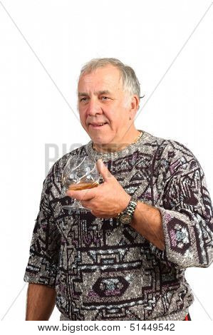 casual older man with a scotch in hand isolated on a white background