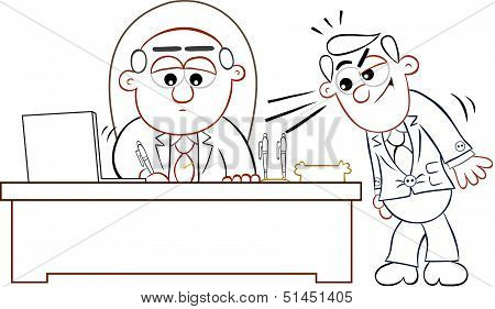 Boss Man Signing Papers With Employee