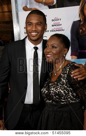 "LOS ANGELES - SEP 25:  Trey Songz, grandma at the ""Baggage Clain"" Premiere at Regal 14 Theaters on September 25, 2013 in Los Angeles, CA"
