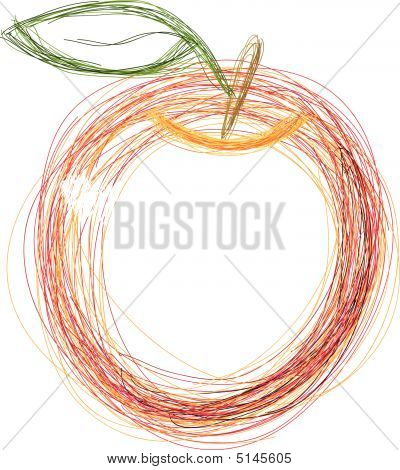 Art. Vector Illustration Of Red Apple