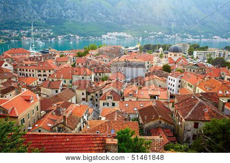 Roofs of Kotor old town. Montenegro