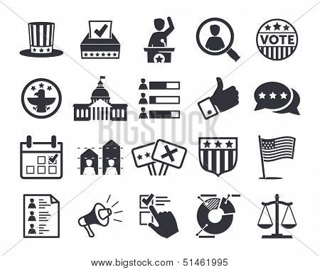 Politics, Voting and elections icons - vector icon set