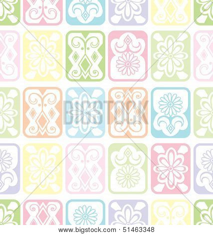 Vector Seamless Background With Tiles. Children's Delicate Soft Colors