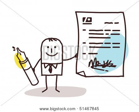 businessman with pen & contract