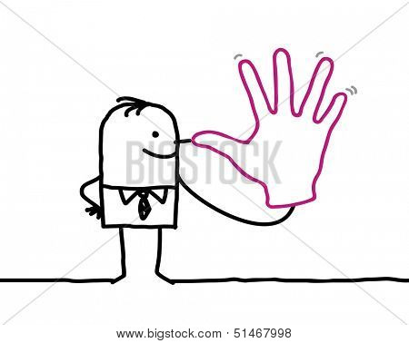 joking businessman with big hand