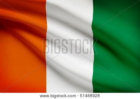 Series Of Ruffled Flags. Republic Of Cote D'ivoire. Cote D Ivoire.