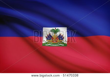 Series Of Ruffled Flags. Republic Of Haiti.