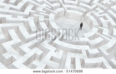 businessman in the middle of a labyrinth