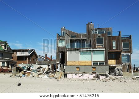 Destroyed beach house in devastated area six months after Hurricane Sandy