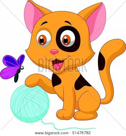 Cute cat cartoon playing with ball of yarn and butterfly