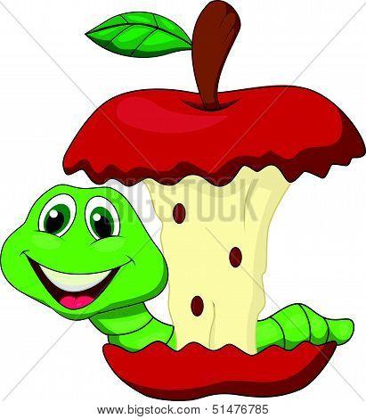 Worm eating red apple cartoon