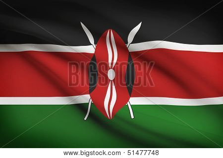 Series Of Ruffled Flags. Republic Of Kenya.