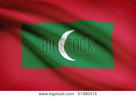 Series Of Ruffled Flags. Republic Of The Maldives.