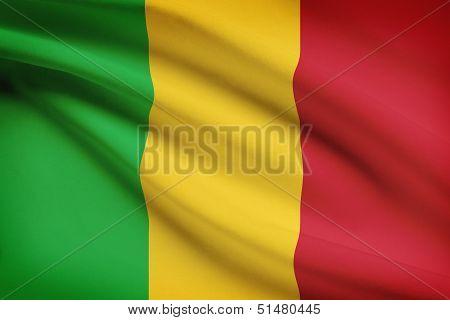Series Of Ruffled Flags. Republic Of Mali.