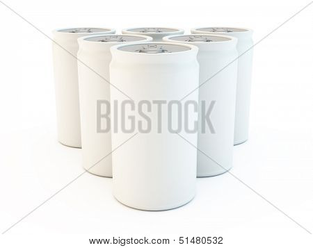 Soda fizzy cans of drink, six pack on a white background