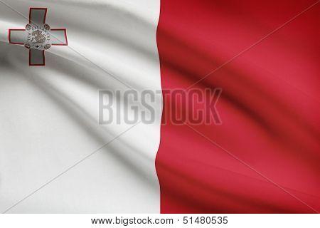 Series Of Ruffled Flags. Republic Of Malta.