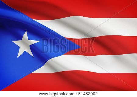 Series Of Ruffled Flags. Commonwealth Of Puerto Rico.