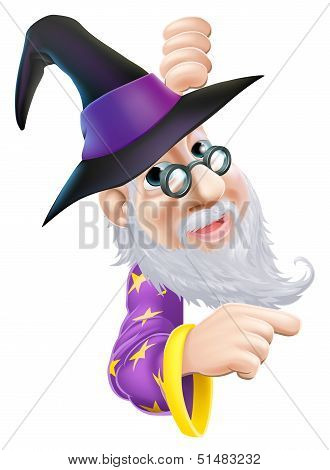 Wizard Peeping Round Sign