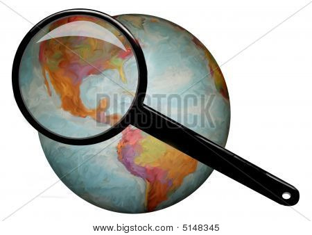 Globe Under Magnifying Glass