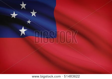 Series Of Ruffled Flags. Independent State Of Samoa.