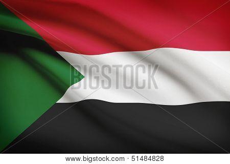 Series Of Ruffled Flags. Republic Of The Sudan.