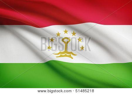 Series Of Ruffled Flags. Republic Of Tajikistan.