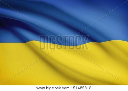 Series Of Ruffled Flags. Ukraine.