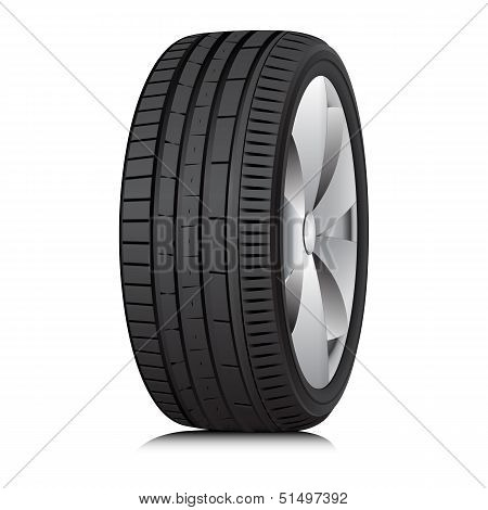 Low profile tubeless Tyre. Vector.